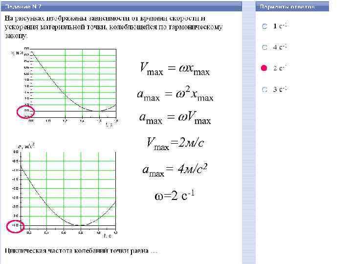 Vmax=2 м/c amax= 4 м/c 2 ω=2 c-1