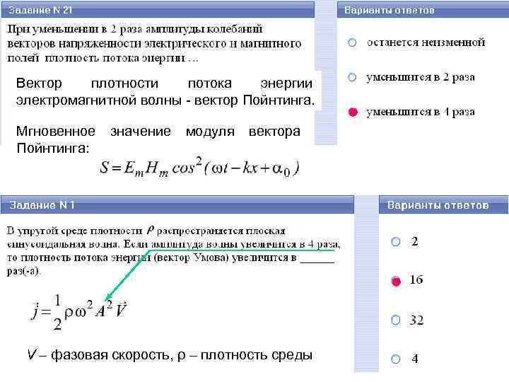 Вектор плотности потока энергии электромагнитной волны - вектор Пойнтинга. Мгновенное Пойнтинга: значение модуля вектора