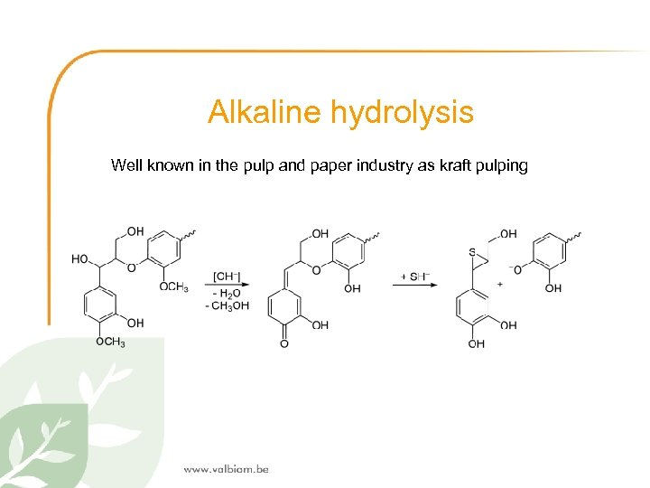 Alkaline hydrolysis Well known in the pulp and paper industry as kraft pulping