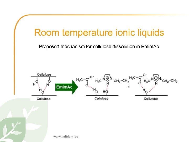 Room temperature ionic liquids Proposed mechanism for cellulose dissolution in Emim. Ac