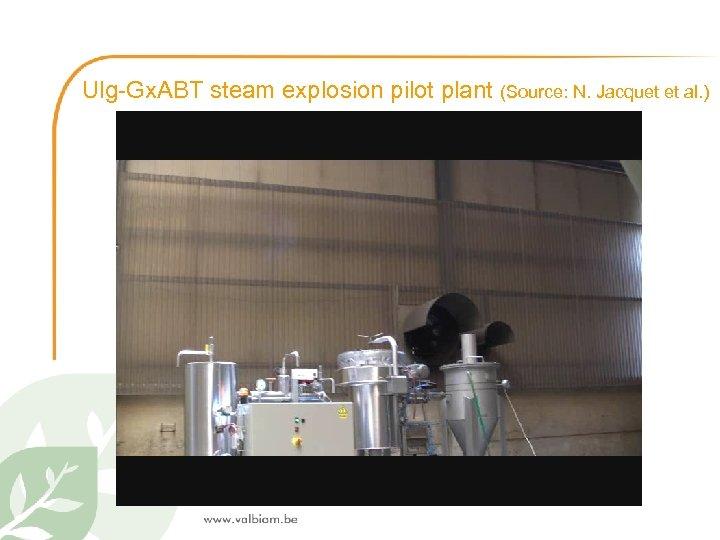 Ulg-Gx. ABT steam explosion pilot plant (Source: N. Jacquet et al. )