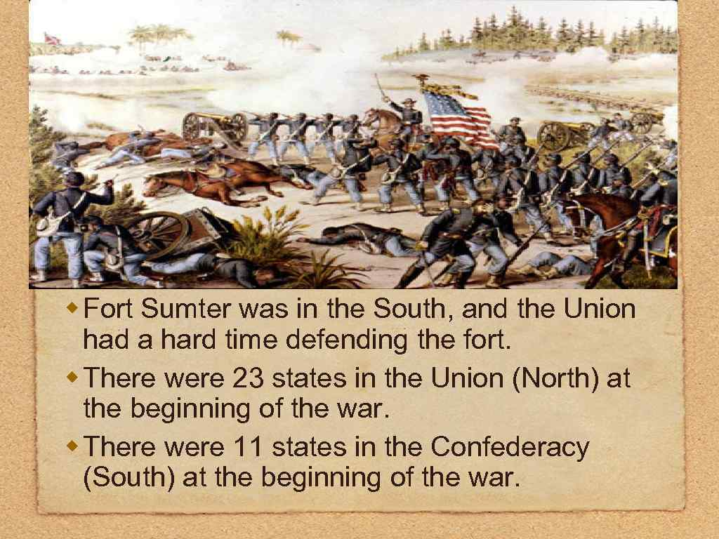 w Fort Sumter was in the South, and the Union had a hard time