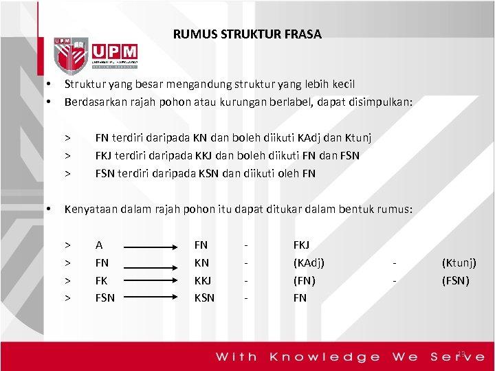 RUMUS STRUKTUR FRASA • • Struktur yang besar mengandung struktur yang lebih kecil Berdasarkan