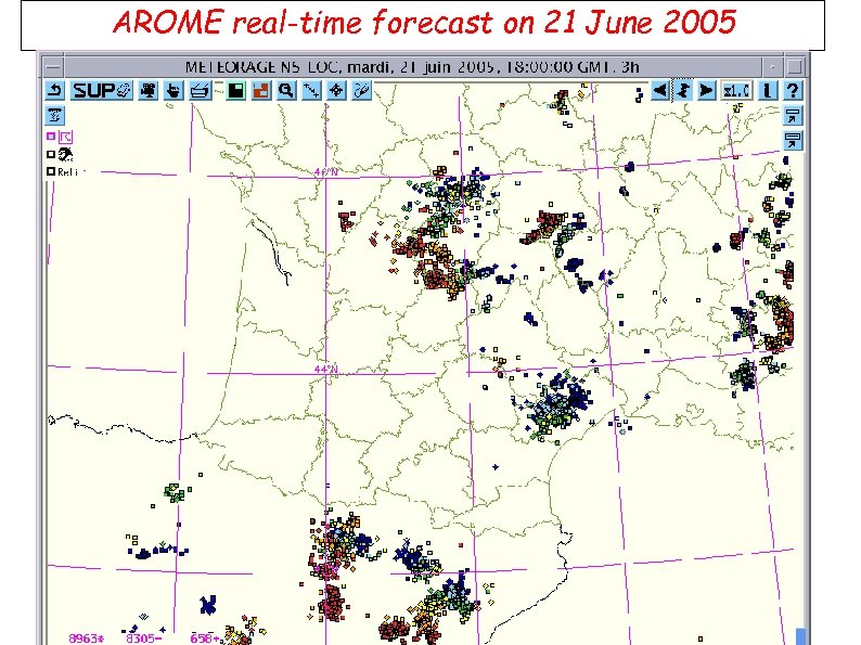 AROME real-time forecast on 21 June 2005