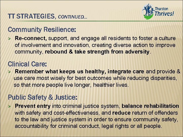 TT STRATEGIES, CONTINUED… Community Resilience: Re-connect, support, and engage all residents to foster a