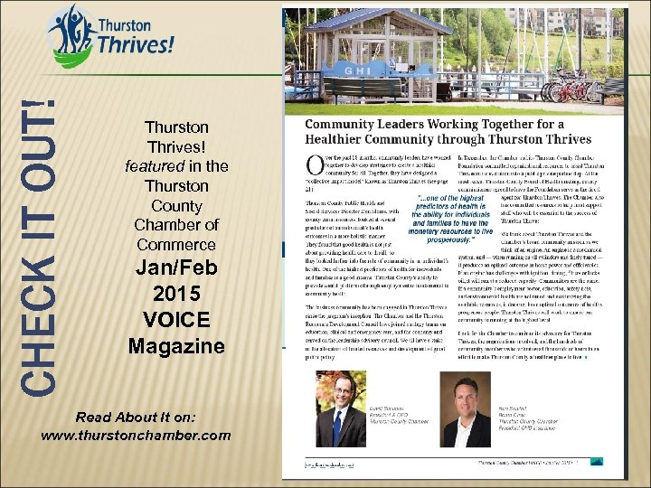 CHECK IT OUT! Thurston Thrives! featured in the Thurston County Chamber of Commerce Jan/Feb