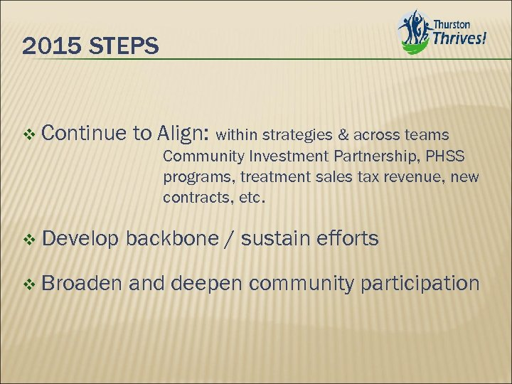 2015 STEPS v Continue to Align: within strategies & across teams Community Investment Partnership,