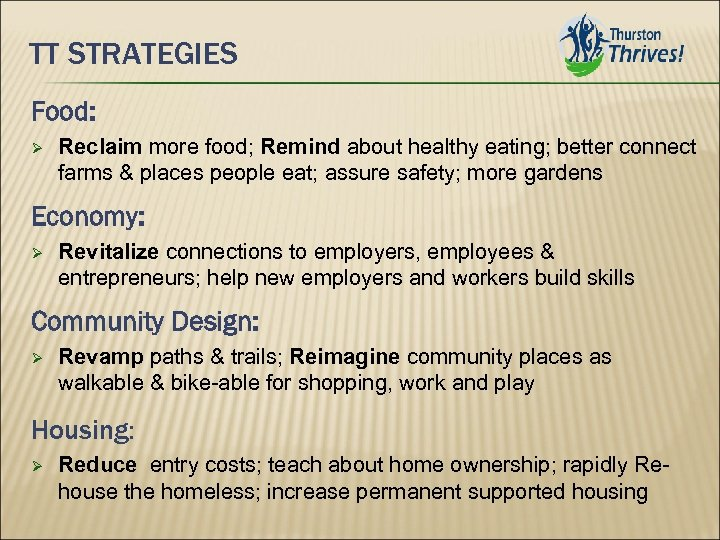 TT STRATEGIES Food: Reclaim more food; Remind about healthy eating; better connect farms &