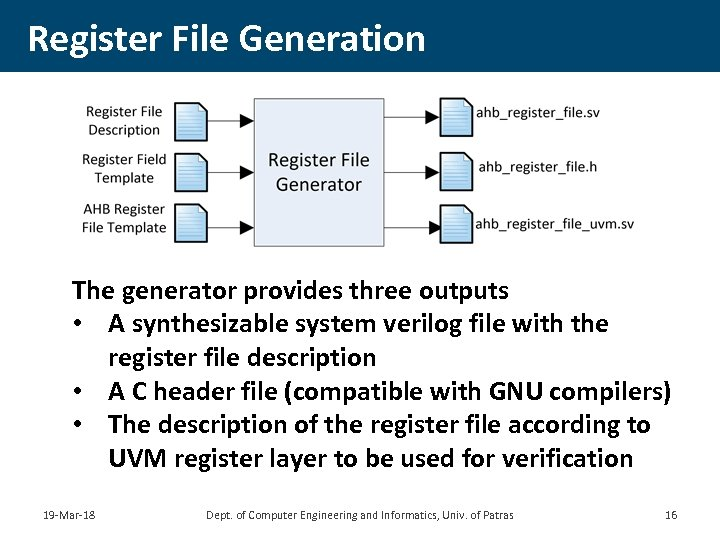 Register File Generation The generator provides three outputs • A synthesizable system verilog file