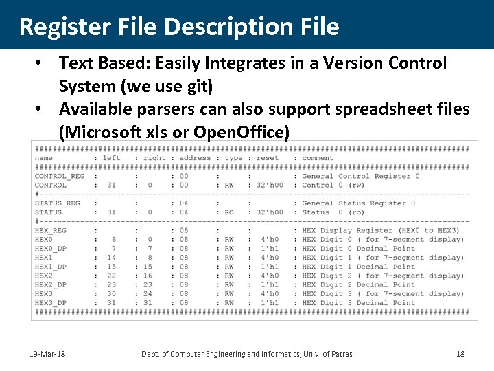 Register File Description File • Text Based: Easily Integrates in a Version Control System