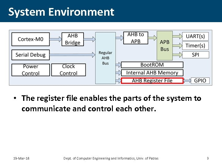 System Environment • The register file enables the parts of the system to communicate
