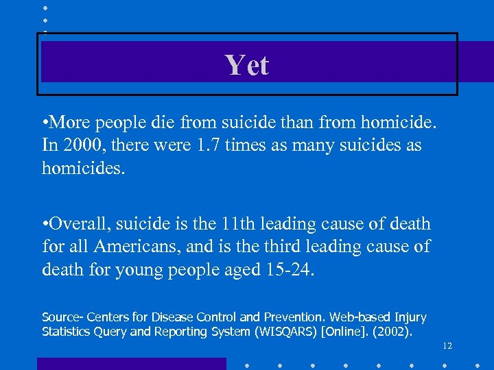 Yet • More people die from suicide than from homicide. In 2000, there were