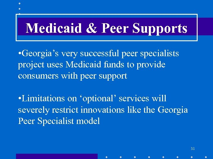 Medicaid & Peer Supports • Georgia's very successful peer specialists project uses Medicaid funds