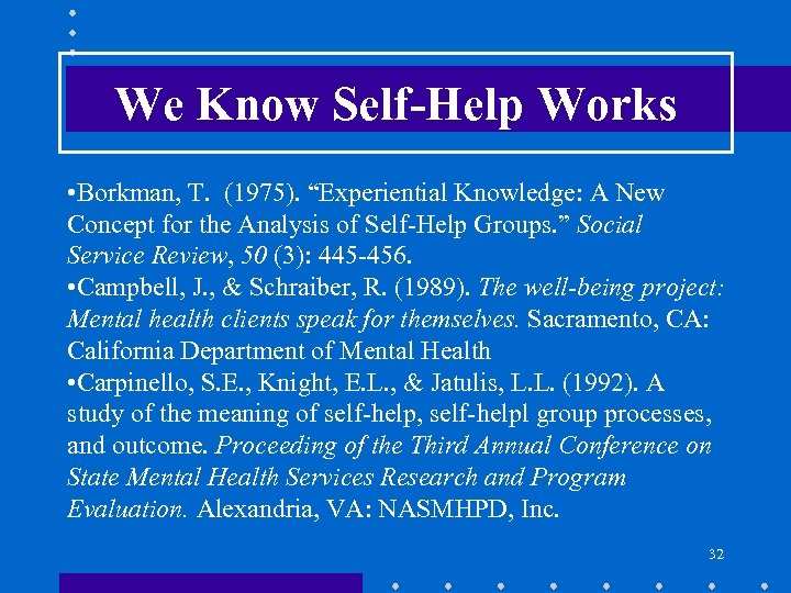 "We Know Self-Help Works • Borkman, T. (1975). ""Experiential Knowledge: A New Concept for"