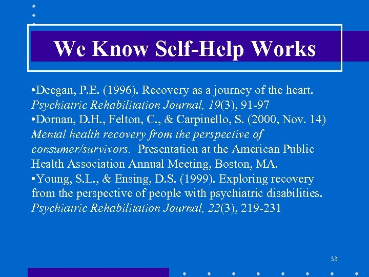 We Know Self-Help Works • Deegan, P. E. (1996). Recovery as a journey of