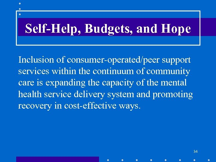 Self-Help, Budgets, and Hope Inclusion of consumer-operated/peer support services within the continuum of community