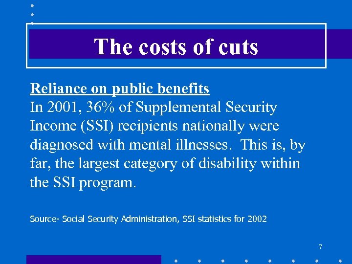The costs of cuts Reliance on public benefits In 2001, 36% of Supplemental Security