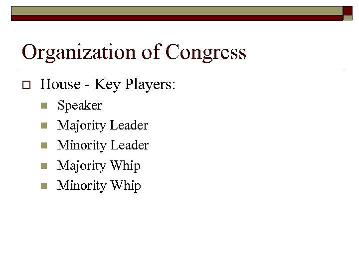 Organization of Congress o House - Key Players: n n n Speaker Majority Leader