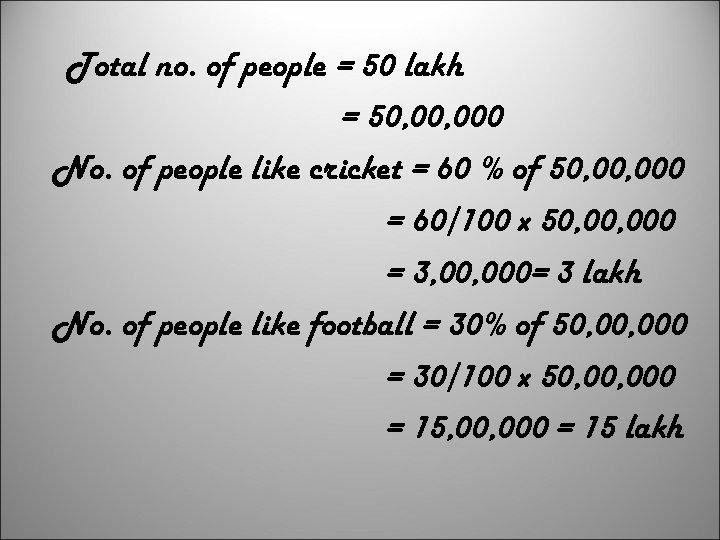 Total no. of people = 50 lakh = 50, 000 No. of people like