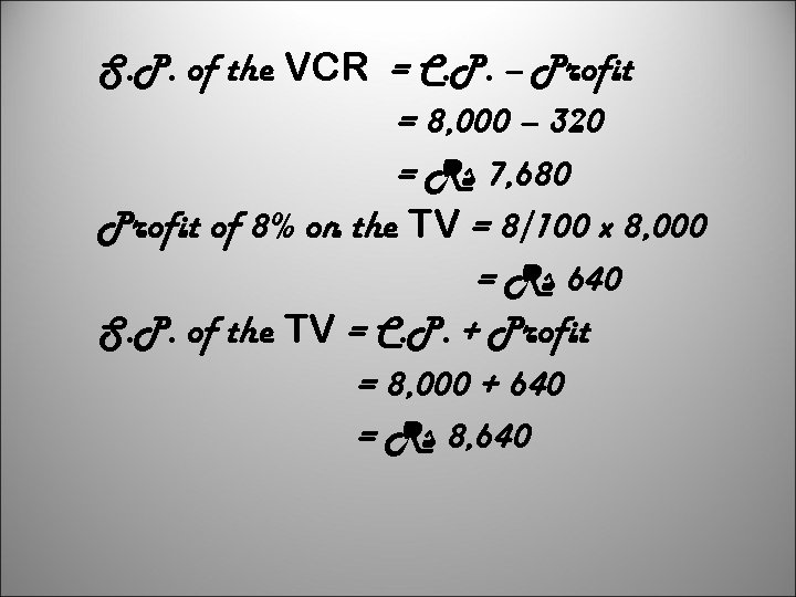 S. P. of the VCR = C. P. – Profit = 8, 000 –