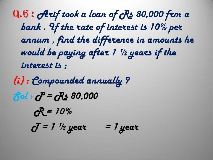 q. 6 : Arif took a loan of Rs 80, 000 frm a bank.