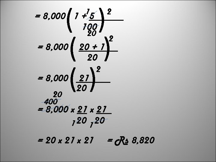 ( ( ( = 8, 000 1 +15 2 100 = 8, 000 20
