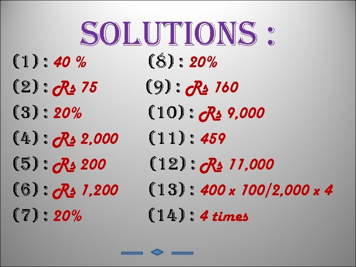 solutions : (1) : 40 % (2) : Rs 75 (3) : 20% (4)