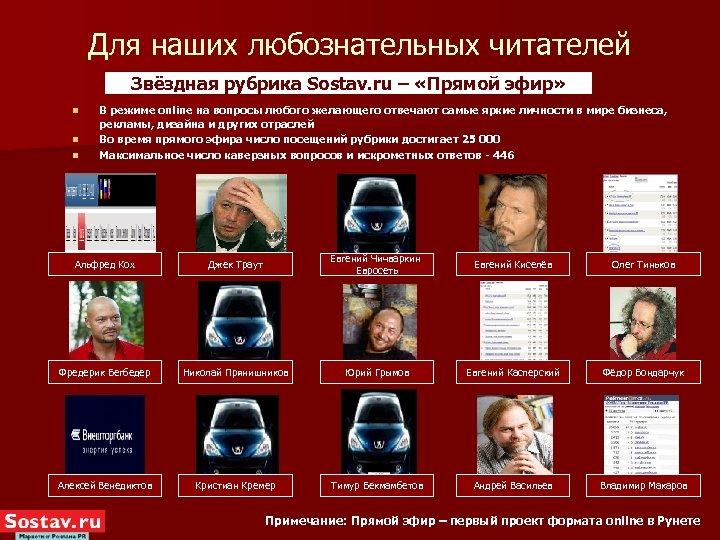 Для наших любознательных читателей Звёздная рубрика Sostav. ru – «Прямой эфир» n n n