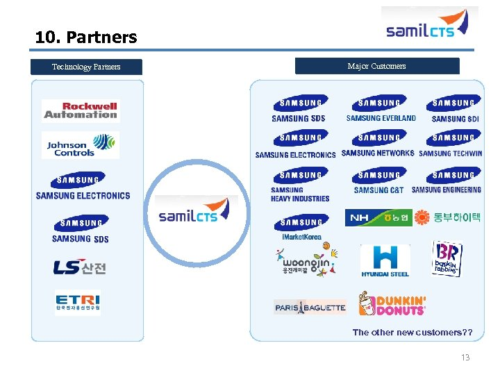 10. Partners Technology Partners Major Customers The other new customers? ? 13