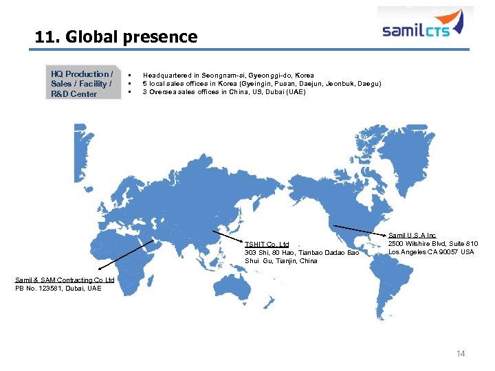 11. Global presence HQ Production / Sales / Facility / R&D Center § §