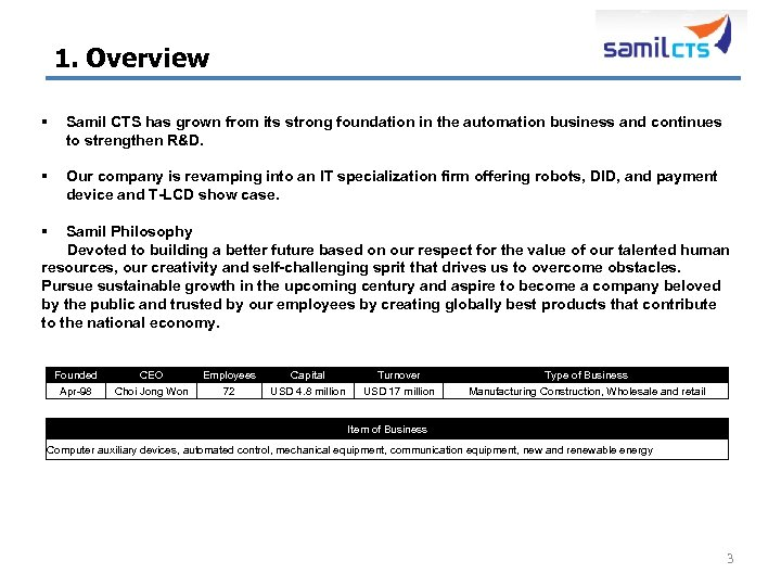 1. Overview § Samil CTS has grown from its strong foundation in the automation
