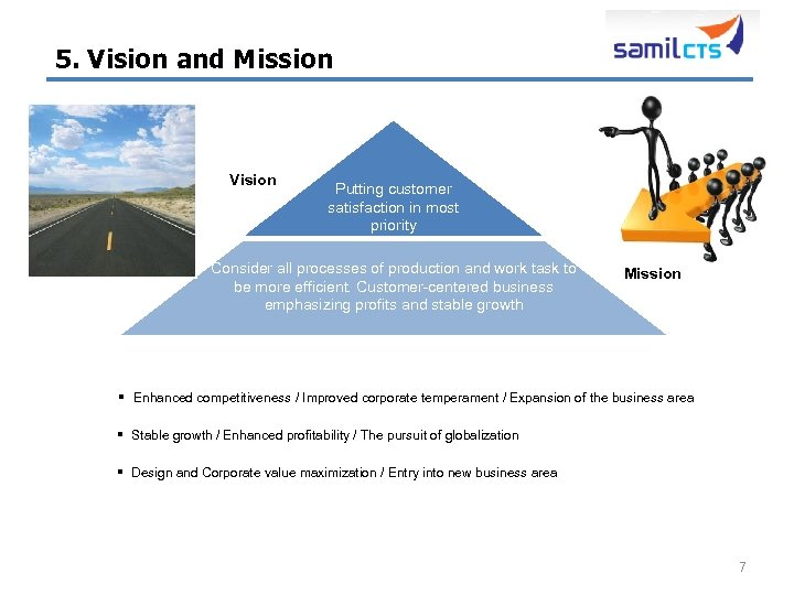 5. Vision and Mission Vision Putting customer satisfaction in most priority Consider all processes