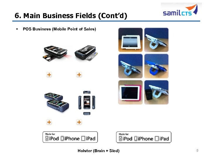 6. Main Business Fields (Cont'd) § POS Business (Mobile Point of Sales) Holster (Brain