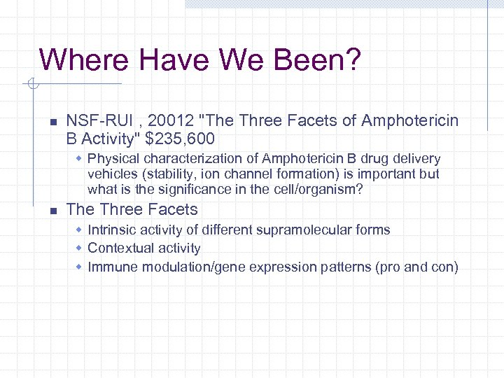 Where Have We Been? n NSF-RUI , 20012