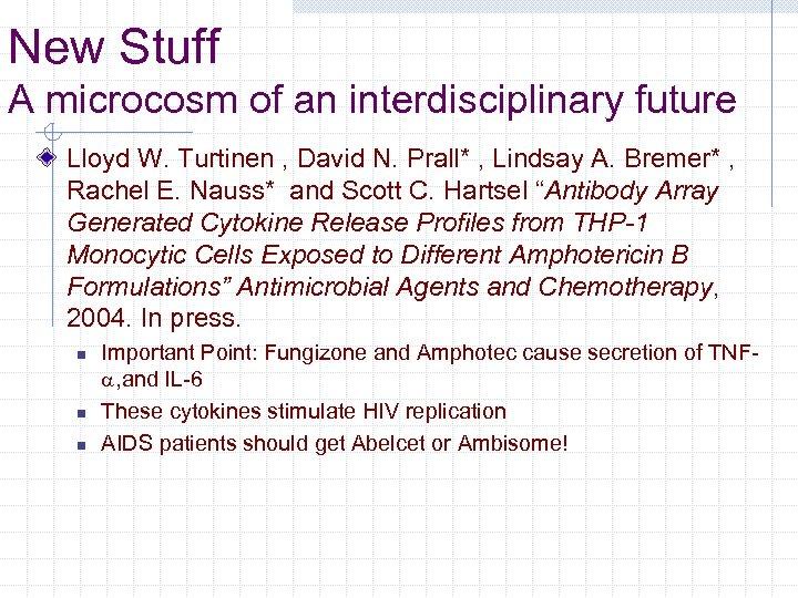 New Stuff A microcosm of an interdisciplinary future Lloyd W. Turtinen , David N.