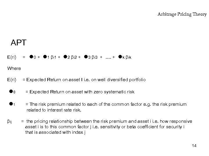 Arbitrage Pricing Theory APT E(ri) = 0 + 1 i 1 + 2 i