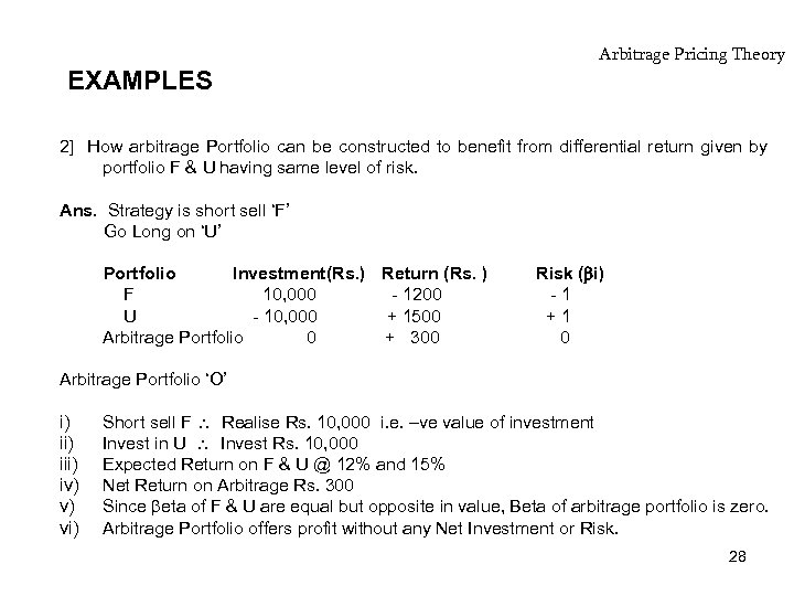 EXAMPLES Arbitrage Pricing Theory 2] How arbitrage Portfolio can be constructed to benefit from