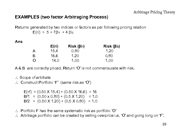 EXAMPLES (two factor Arbitraging Process) Arbitrage Pricing Theory Returns generated by two indices or