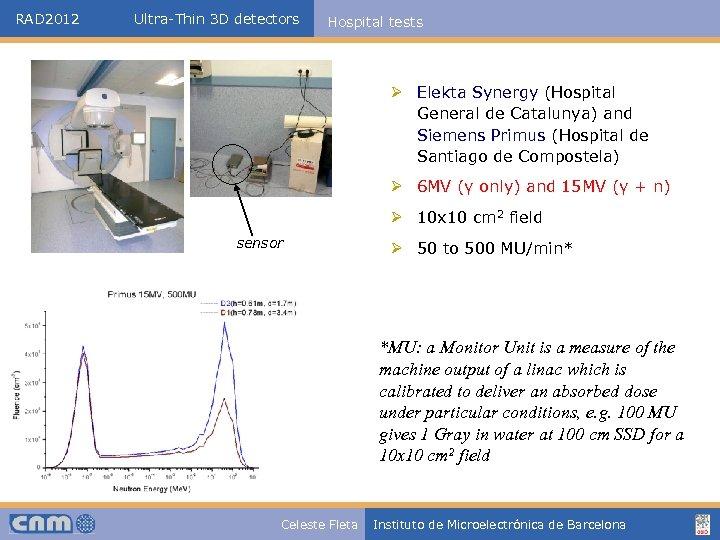RAD 2012 Ultra-Thin 3 D detectors Hospital tests Ø Elekta Synergy (Hospital General de