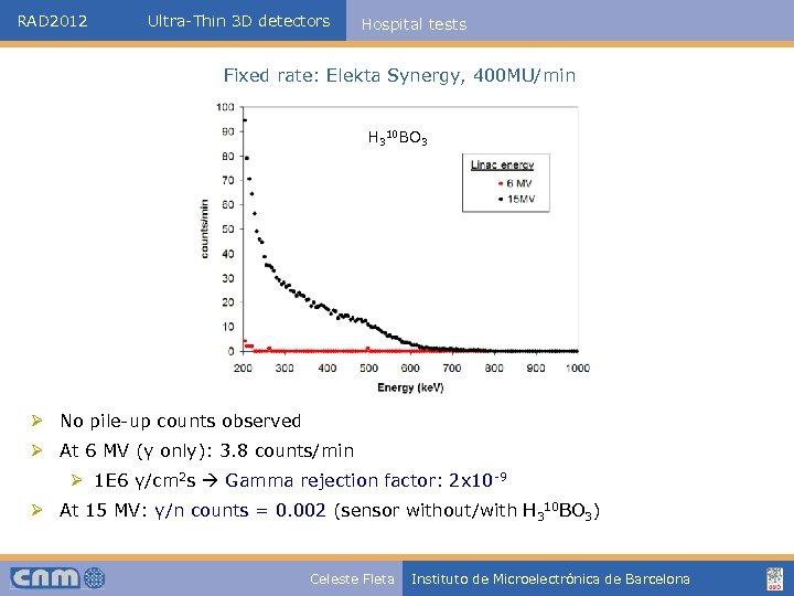 RAD 2012 Ultra-Thin 3 D detectors Hospital tests Fixed rate: Elekta Synergy, 400 MU/min
