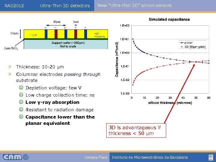 "RAD 2012 Ultra-Thin 3 D detectors New ""Ultra-thin 3 D"" silicon sensors Ø Thickness:"