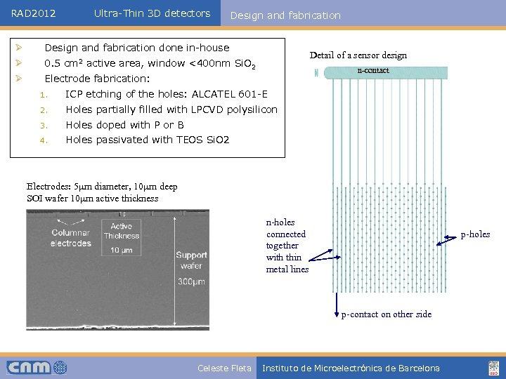 RAD 2012 Ultra-Thin 3 D detectors Design and fabrication Ø Design and fabrication done