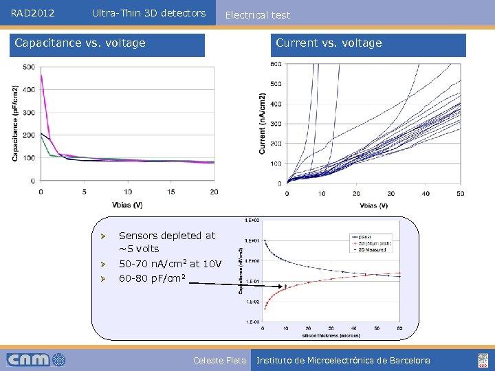 RAD 2012 Ultra-Thin 3 D detectors Electrical test Capacitance vs. voltage Current vs. voltage