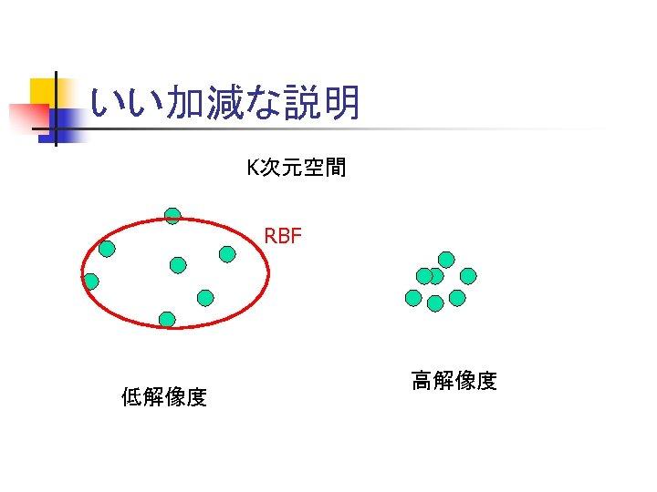 いい加減な説明 K次元空間 RBF 低解像度 高解像度