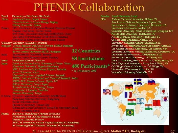 PHENIX Collaboration Brazil China University of São Paulo, São Paulo Academia Sinica, Taipei, Taiwan