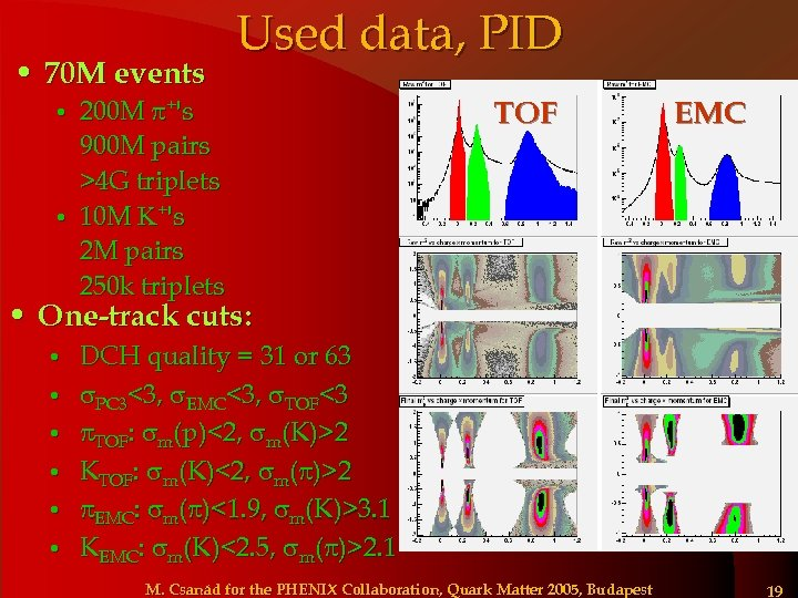 • 70 M events Used data, PID 200 M +'s 900 M pairs