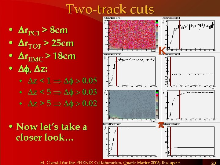 Two-track cuts • • Dr. PC 1 > 8 cm Dr. TOF > 25
