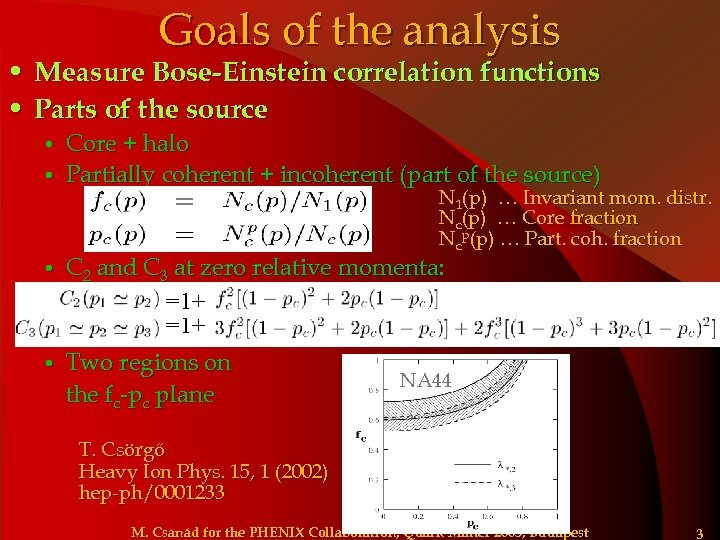 Goals of the analysis • Measure Bose-Einstein correlation functions • Parts of the source