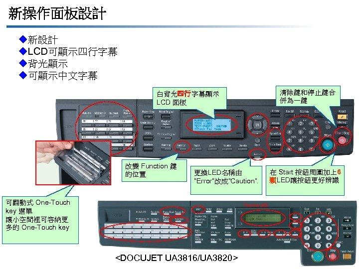 新操作面板設計 u新設計 u. LCD可顯示四行字幕 u背光顯示 u可顯示中文字幕 清除鍵和停止鍵合 併為一鍵 白背光四行字幕顯示 LCD 面板 改變 Function 鍵