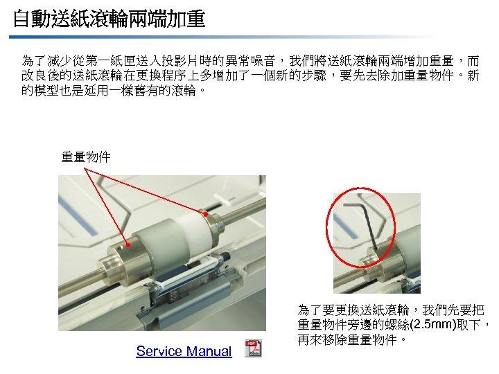 自動送紙滾輪兩端加重 為了減少從第一紙匣送入投影片時的異常噪音,我們將送紙滾輪兩端增加重量,而 改良後的送紙滾輪在更換程序上多增加了一個新的步驟,要先去除加重量物件。新 的模型也是延用一樣舊有的滾輪。 重量物件 Service Manual 為了要更換送紙滾輪,我們先要把 重量物件旁邊的螺絲(2. 5 mm)取下, 再來移除重量物件。